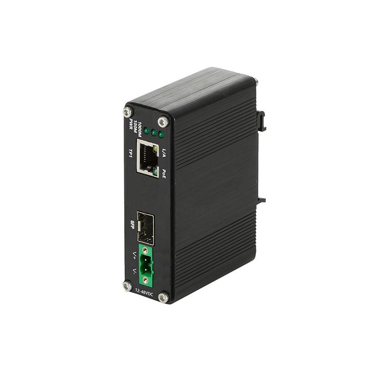 工业级1光1电90W大功率百兆PoE收发器