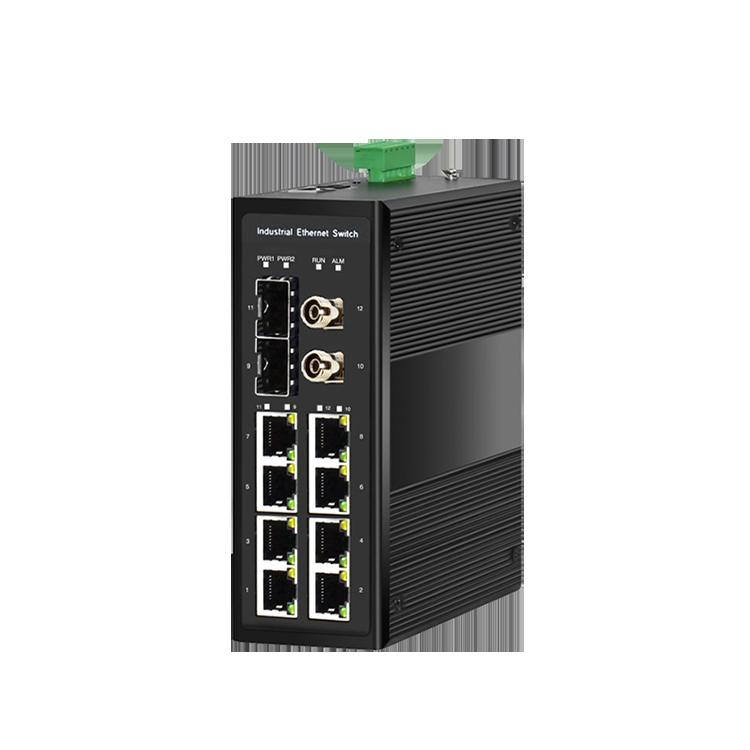 工业级4光8电支持Bypass管理型环网交换机