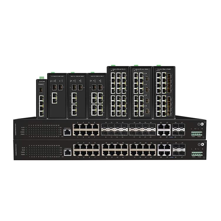 工业级16光8电4复用口千兆PoE环网交换机