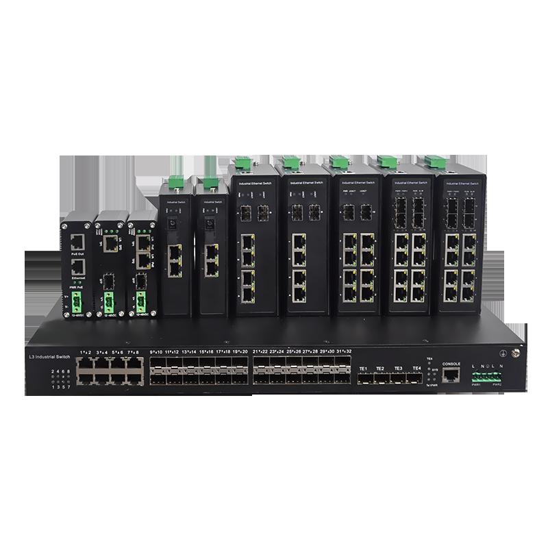 16光8电4复用口千兆工业环网交换机