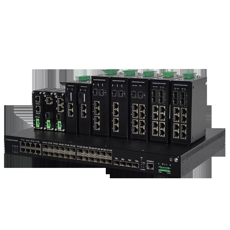 16光8电4复用口万兆工业环网交换机